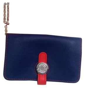 Hermès Hermes Bicolor Blue Sapphire and Cappucine Orange Dogon Card Case Wallet with Palladium chain hdw