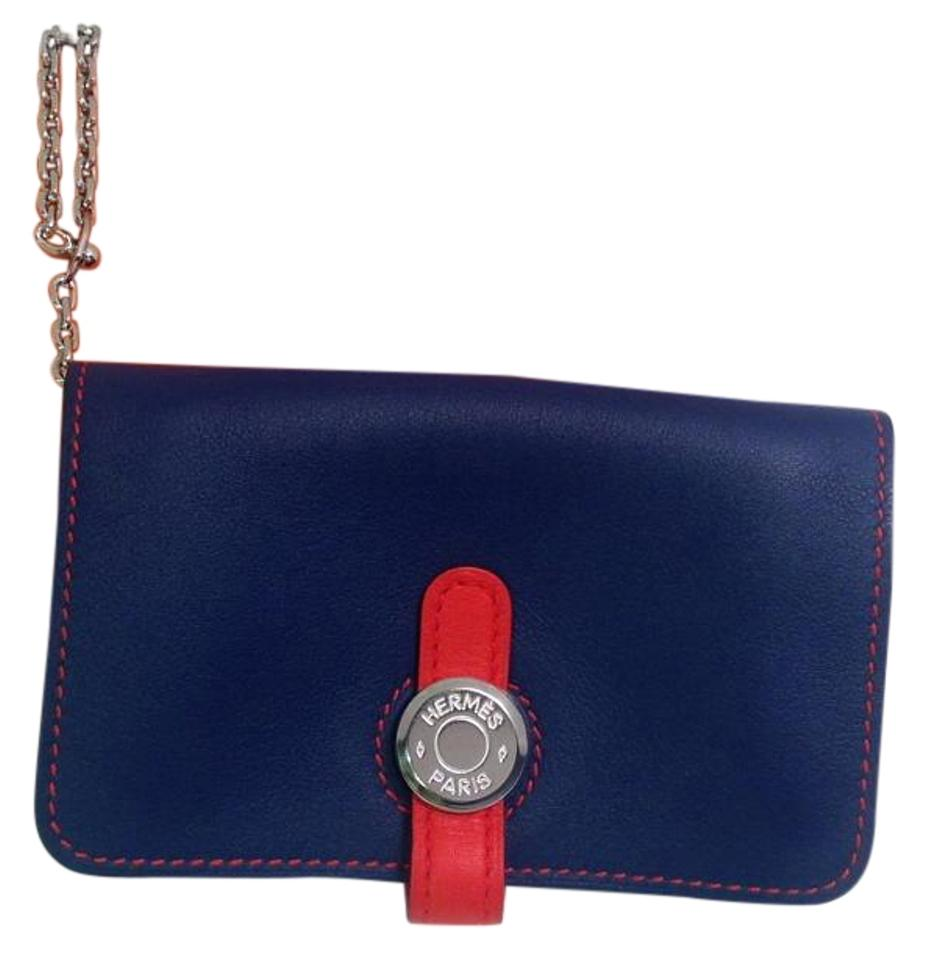 new styles 11a43 fd285 Hermès Blue Sapphire and Cappucine Orange Bicolor Dogon Card Case with  Palladium Chain Hdw Wallet 43% off retail