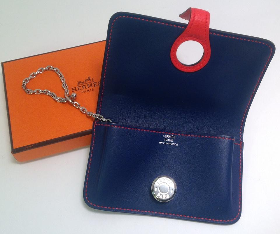 new styles 7ebdd eef68 Hermès Blue Sapphire and Cappucine Orange Bicolor Dogon Card Case with  Palladium Chain Hdw Wallet 43% off retail