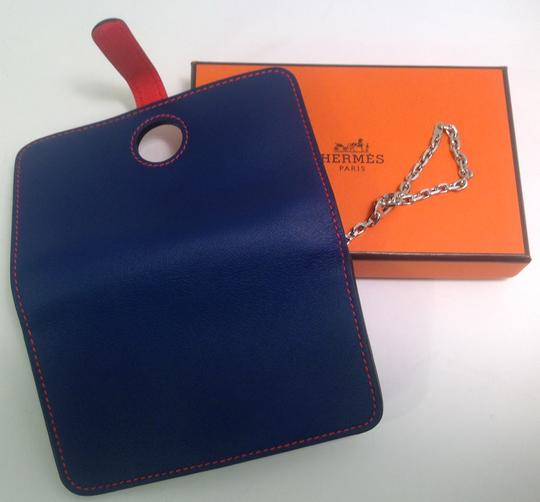 Hermès Hermes Bicolor Blue Sapphire and Cappucine Orange Dogon Card Case Wallet with Palladium chain hdw Image 2