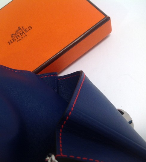 Hermès Hermes Bicolor Blue Sapphire and Cappucine Orange Dogon Card Case Wallet with Palladium chain hdw Image 3