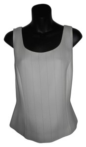 Tahari Striped Sleeveless Top WHITE