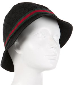 Gucci Black canvas Gucci GG Guccissima monogram Web bucket hat