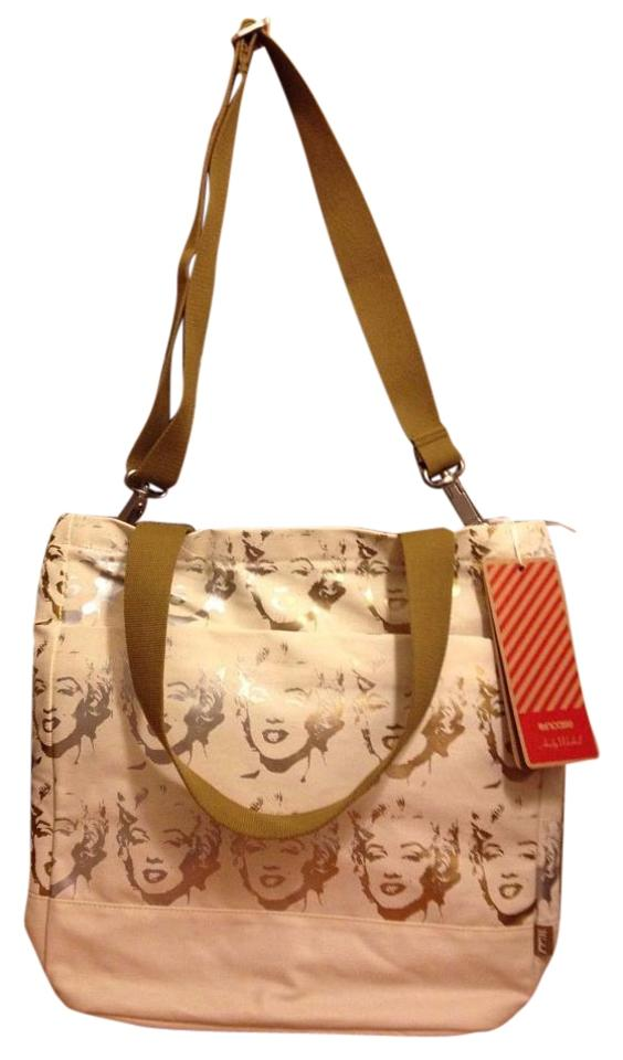Incase Andy Warhol Coated Canvas Tote Marylin Monroe Gold White Beige Hobo Bag