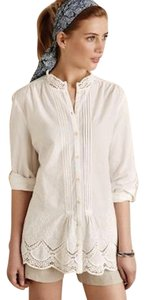 Anthropologie Lace Spring Summer Top White