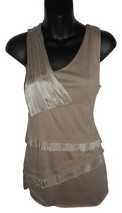 MM Couture Sleeveless V-neck Ruffle Top Tan