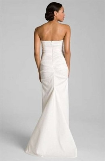 Nicole Miller Ivory Pintucked Jacquard Fishtail Gown Wedding Dress Size 4 (S)