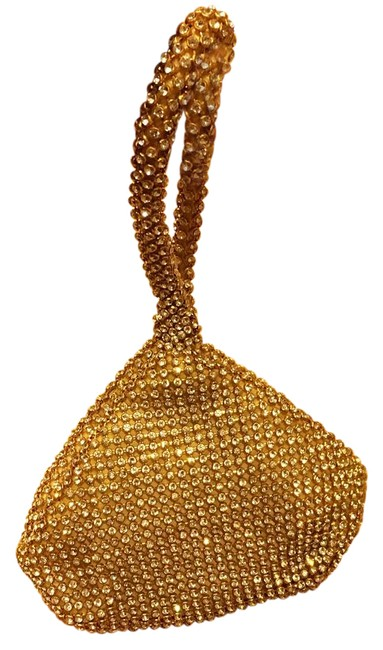 Golden Evening Gold Fabric with Crystals Wristlet Golden Evening Gold Fabric with Crystals Wristlet Image 1