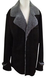 UGG Australia Leather Suede Shearling Warm Winter Work Office Casual Black - Gray Leather Jacket