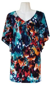Vintage Suzie Colorful Keyhole Tunic Top blue, green, orange, red, white