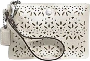 Coach Leather Eyelet Universal Wristlet in Ivory