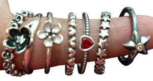 PANDORA Pandora LOT of rings - Mystic Floral, Cherry Blossom, Forever Love, One Love, Stella