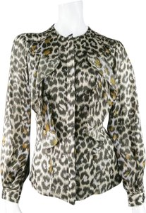 Carolina Herrera Lepord Animalprint Sheer Silk Longsleeve Top Olive