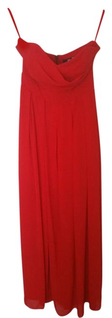 TFNC Red Strapless Maxi with Thigh Split Long Formal Dress Size 6 (S) TFNC Red Strapless Maxi with Thigh Split Long Formal Dress Size 6 (S) Image 1
