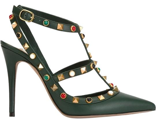 Valentino Rockstud Cabochon Comfortable Leather Green Pumps Image 0
