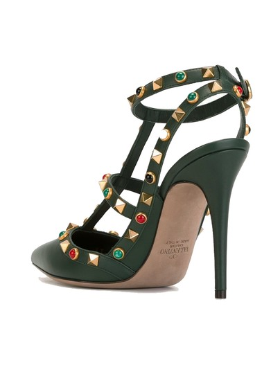 Valentino Rockstud Cabochon Comfortable Leather Green Pumps Image 5