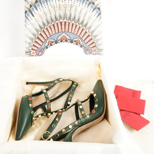 Valentino Rockstud Cabochon Comfortable Leather Green Pumps Image 6