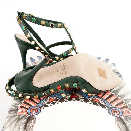 Valentino Rockstud Cabochon Comfortable Leather Green Pumps Image 7