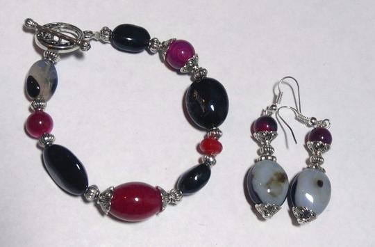 Other New Agate & Black Onyx Gemstone Bracelet Earrings Set Silver J2582 Image 1