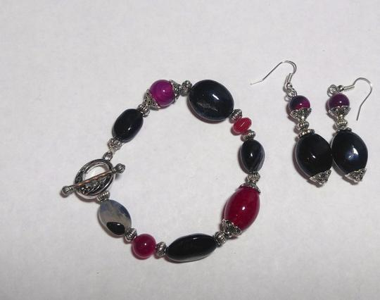 Other New Agate & Black Onyx Gemstone Bracelet Earrings Set Silver J2582 Image 2