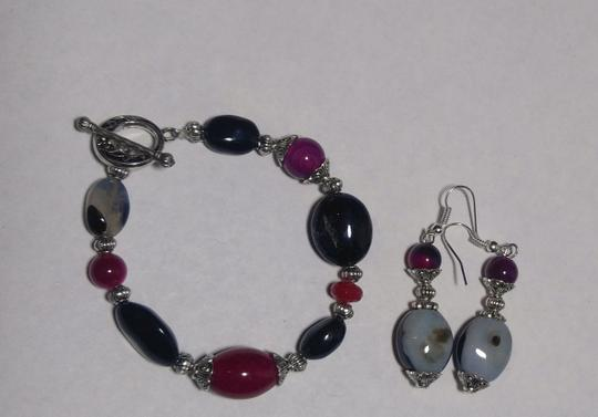 Other New Agate & Black Onyx Gemstone Bracelet Earrings Set Silver J2582 Image 3