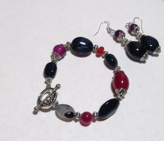 Other New Agate & Black Onyx Gemstone Bracelet Earrings Set Silver J2582 Image 4