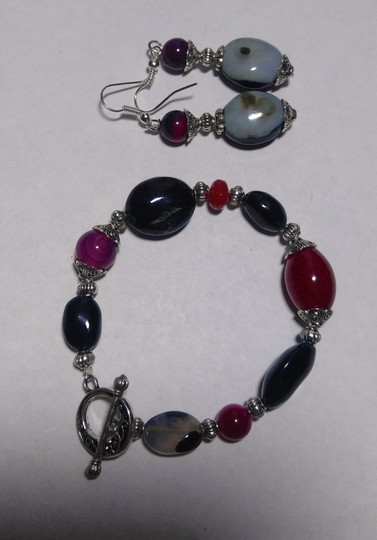Other New Agate & Black Onyx Gemstone Bracelet Earrings Set Silver J2582 Image 5