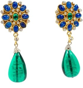 Kenneth Jay Lane Kenneth Jay Lane Vintage 1960s Goldtone Blue & Green Teardrop Earrings.