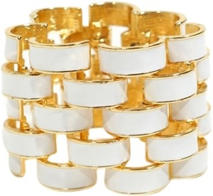 Kenneth Jay Lane Kenneth Jay Lane Gold Tone & White Enamel Basketweave Vintage Bracelet Bangle