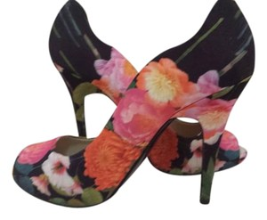 Nine West High Heels Floral Heels Peep Toe Multi Color Pumps