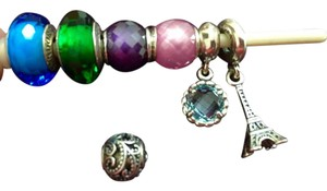 PANDORA Pandora charms and pendant LOT- Aqua and Green muranos, pink and purple facet beads, Eiffel Tower, Cool Breeze dangles