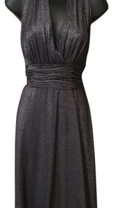 Shimmering Gunmetal Grey Maxi Dress by Evan Picone