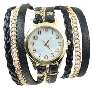 Other New Black Wrap Around Watch Gold Tone J2583