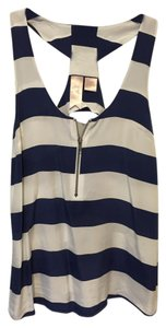 Gemma Racer-back Silk Zipper Front Top Navy & White Stripe
