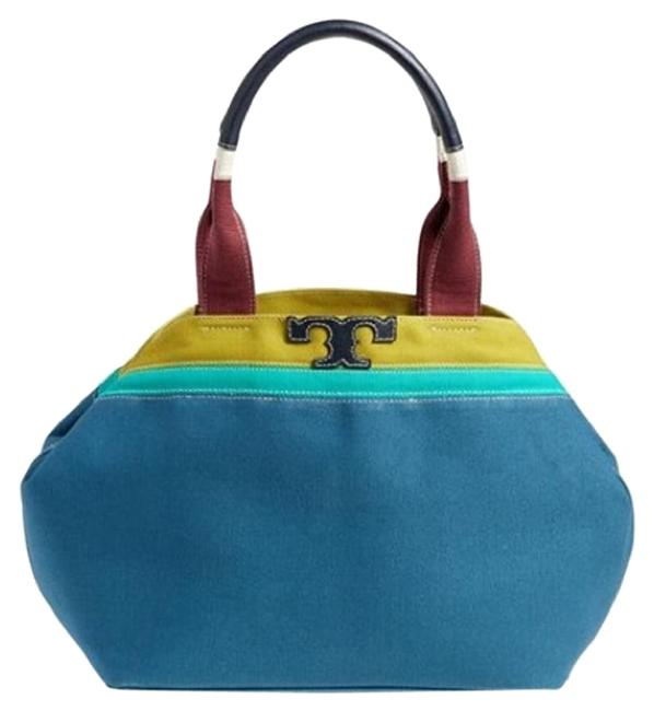 Tory Burch Serif T Mini Colorblock Blue Jay Canvas Tote Tory Burch Serif T Mini Colorblock Blue Jay Canvas Tote Image 1