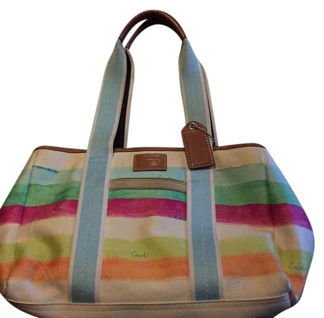 Coach Colorful White with Rainbow Colors Swayed Satchel Coach Colorful White with Rainbow Colors Swayed Satchel Image 1