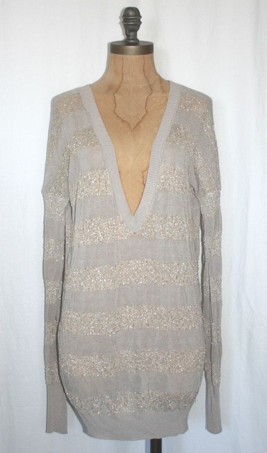 Anthropologie V Neck Gold Sparkled Sweater Image 1