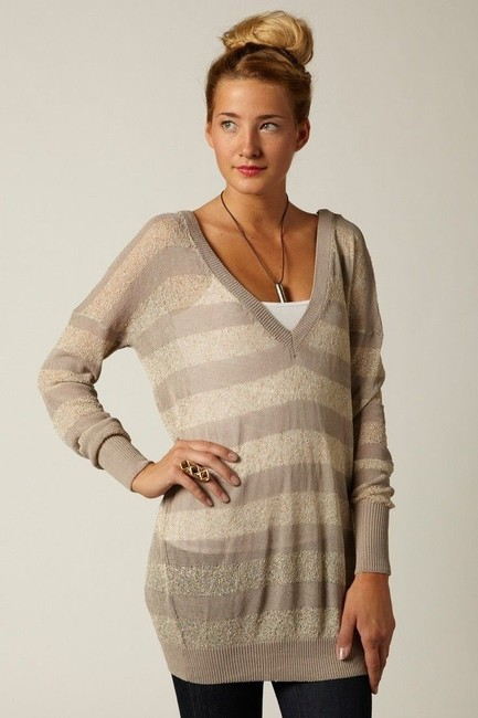 Anthropologie V Neck Gold Sparkled Sweater Image 3