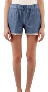 Elizabeth and James Blue Silk Chambray Mini/Short Shorts Blue Jake