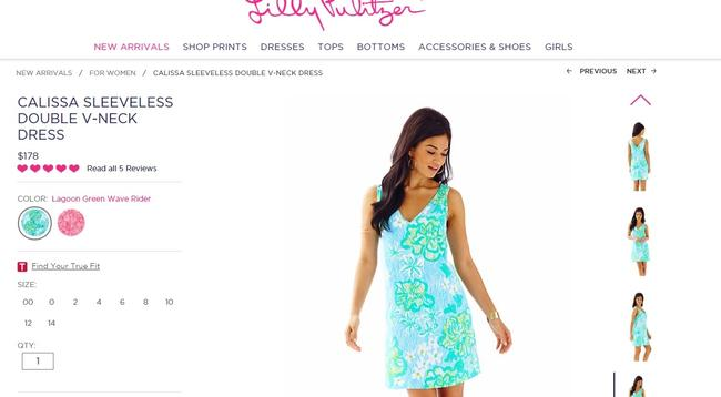 Lilly Pulitzer V-neck Calissa Printed Summer Dress Image 1