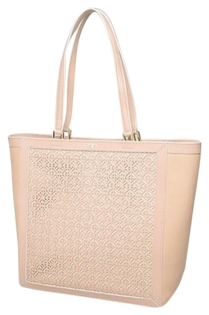 Tory Burch T Fret Light Oak Pink Perforated Beige Leather Tote Tory Burch T Fret Light Oak Pink Perforated Beige Leather Tote Image 1