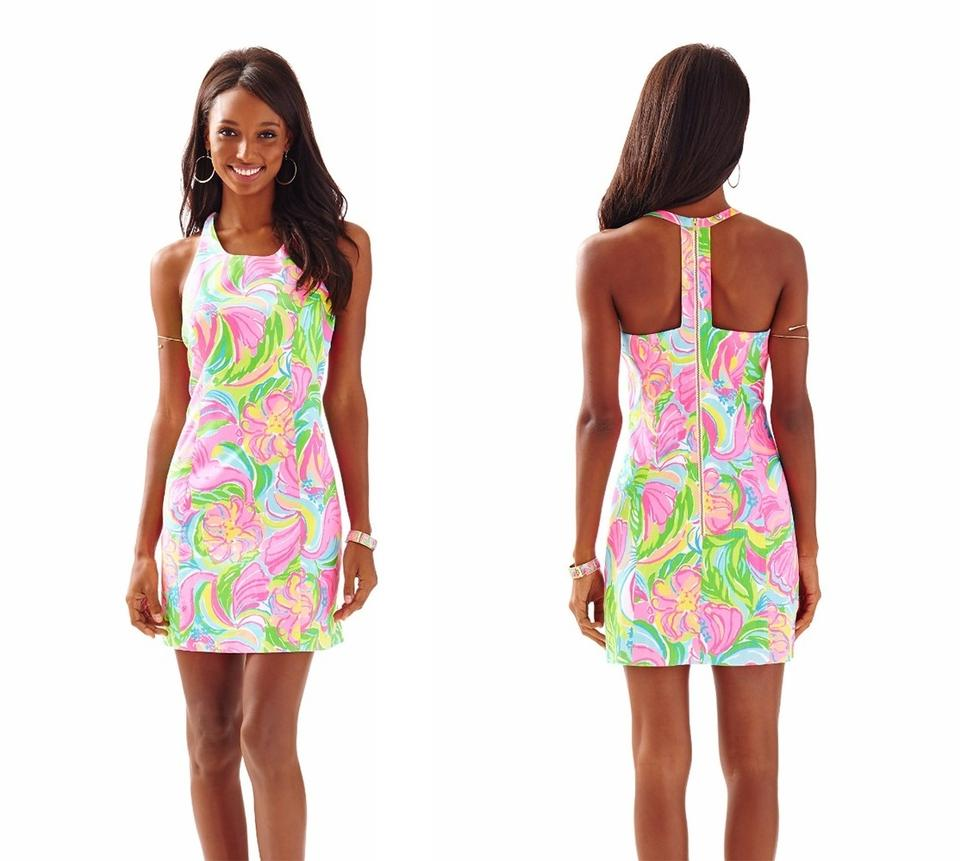 634d441cfd7dcc Lilly Pulitzer Multi So A Peeling 2016 Grayes Printed Racer Back Shift New  Short Casual Dress