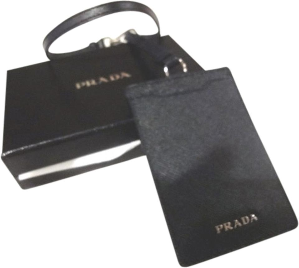 e9e8f44d9d6d Prada Brand New and Authentic Prada Card / ID case Wallet with Strap Navy  Blue Saffiano ...