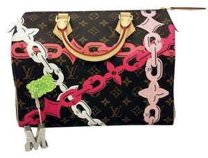 Louis Vuitton Speedy 30 Palm Spring Limited Edition Satchel in Monogram and Pinks