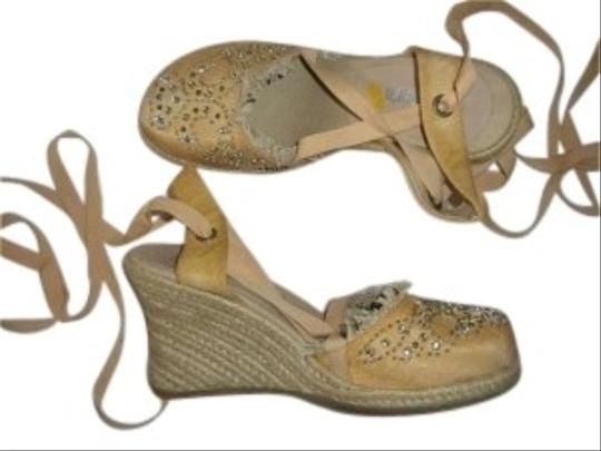Skechers Jeweled Toe Espadrille Champagne Wedges