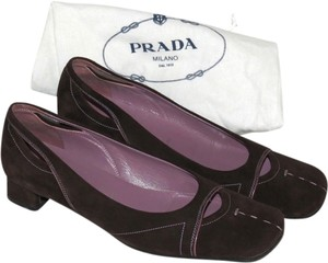 Prada Refurbished And Professionally Cleaned. Insoles Show No Signs Of Wear Leather Bottoms Are Slightly Scuffed Brown Pumps