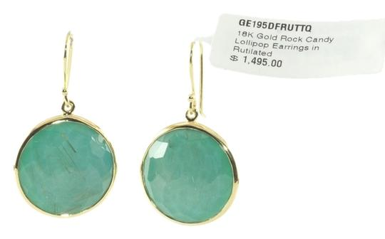 Ippolita IPPOLITA 18K YELLOW GOLD RUTILATED QUARTZ OVER TURQUOISE DOUBLET ROCK CANDY LOLLIPOP EARRINGS