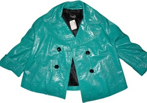 Dolce&Gabbana D&g Swing Back Belt TURQUOISE BLUE Leather Jacket