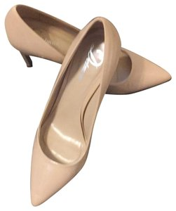 Delman nude pumps With Slight Blemish On Patent Nude Pumps