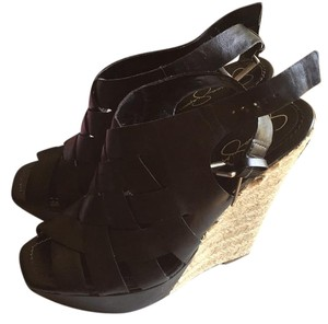 Jessica Simpson Black Vitello Wedges